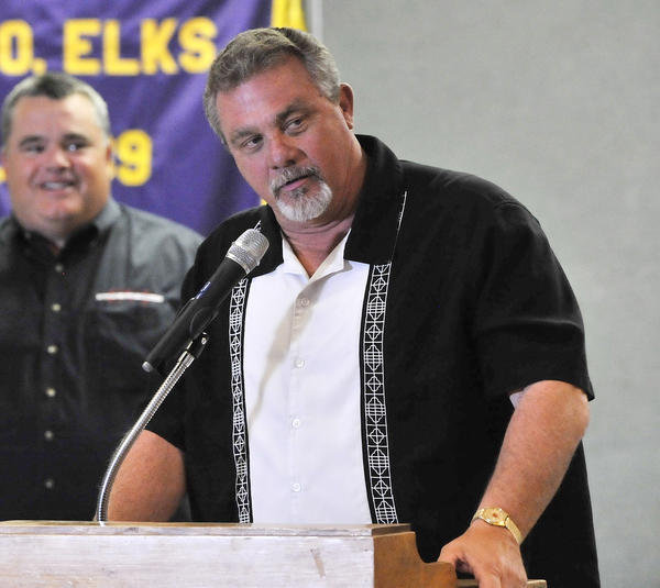 Glendale College's head football coach John Rome speaks about last week's bye and his preparations for next week's football game with the Glendale YMCA Quarterbacks Club at the Elks Lodge in Glendale on Tuesday, Oct. 15, 2013.