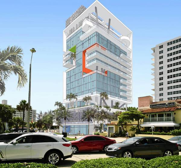 Rendering of the proposed Vintro Hotel on Fort Lauderdale beach.