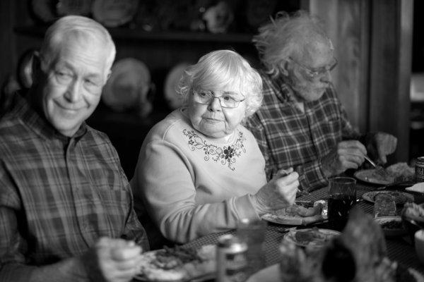 "This image released by Paramount Pictures shows, from left, Dennis McCoig as Uncle Verne, June Squibb as Kate Grant and Bruce Dern as Woody Grant in a scene from the film ""Nebraska, "" about a booze-addled father who makes to Nebraska with his estranged son in order to claim a million dollar Mega Sweepstakes Marketing prize."