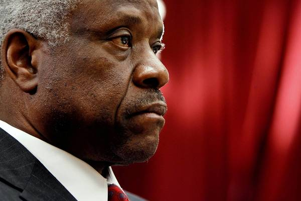 Supreme Court Justice Clarence Thomas, who rarely speaks during court arguments, spoke to the Federalist Society at a dinner for the conservative lawyers group.