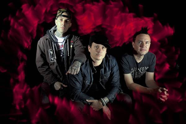 Blink-182, made up of Travis Barker (drummer), left, Tom DeLonge (guitar and vocals) and Mark Hoppus (bass and vocals), at Sound Matrix Studios in Fountain Valley, where they were practicing for their shows in the Los Angeles area.