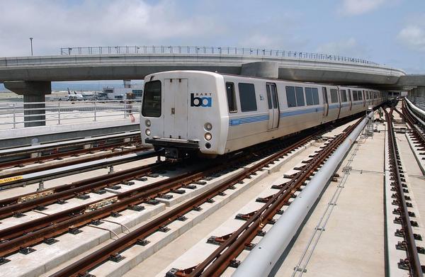 A BART train leaves the San Francisco International Airport.