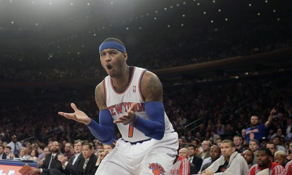 New York Knicks small forward Carmelo Anthony reacts to a call during Thursday's 109-106 loss to the Houston Rockets.