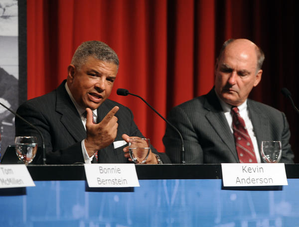 Maryland athletic director Kevin Anderson, left, and Big Ten Conference commissioner Jim Delany appeared together for a panel discussion at the university about the Terps' impending move to the Big Ten.