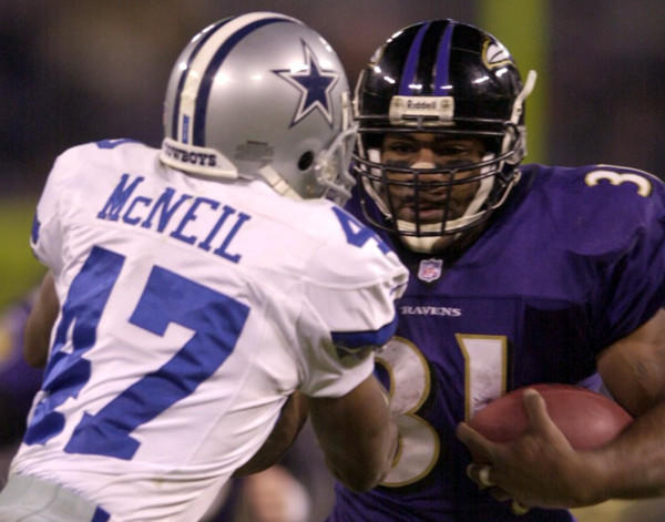 Nov. 19, 2000: A 27-0 defeat of the Dallas Cowboys gives the Ravens their fourth shutout of the season before an announced 69,416 at PSINet Stadium. The Ravens (8-4) gain 250 rushing yards, a franchise record, as Jamal Lewis runs for 187 of them.