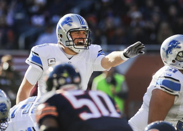 Detroit Lions quarterback Matthew Stafford (9) yells against the Bears at Soldier Field.