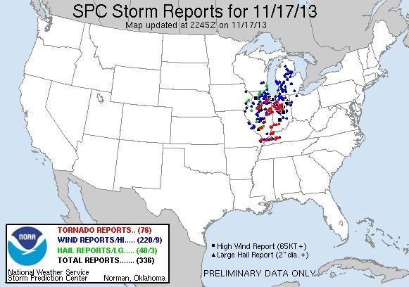 A map showing preliminary reports of the tornadoes that swept across Missouri, Illinois, Kentucky and Indiana on Sunday, Nov. 17, 2013. Some reports may come from spotters reporting the same tornado.