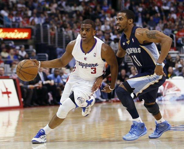 Clippers point guard Chris Paul drives against Grizzlies point guard Mike Conley during a game last season.