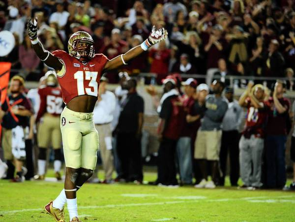 Florida State Seminoles defensive back Jalen Ramsey celebrates after a defensive stop during a game against the Miami Hurricanes at Doak Campbell Stadium.