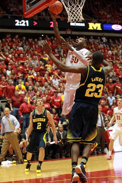 Iowa State's DeAndre Kane shoots over Michigan's Caris LeVert.