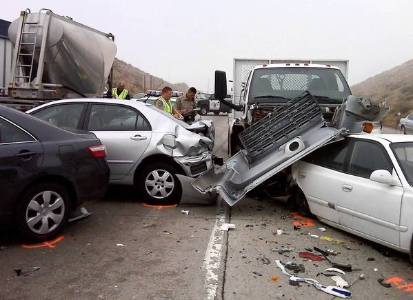 Mercury General's profits have been hurt by rising expenses, primarily the costs of medical bills and automobile repairs related to traffic collisions involving its insured drivers. Above, a multi-car pileup on Interstate 15 in the Cajon Pass in 2009.