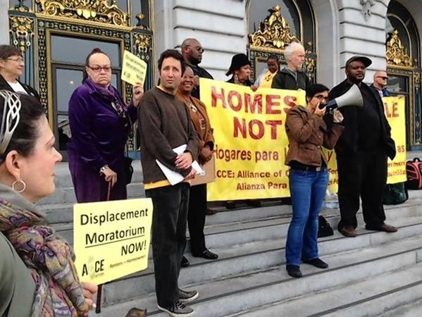 Tenants rights organizations in San Francisco gather to call for an end to displacements of longtime renters.