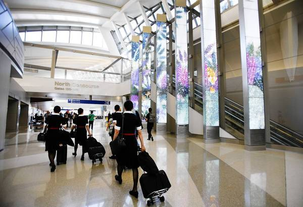 In a ranking of busy airports based on the number of eateries with healthful food offerings, Los Angeles International Airport tied for third place with 83%. Above, the Tom Bradley International Terminal at LAX.