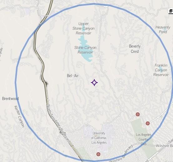 The purple marker shows the location of an officer-involved shooting that killed a 75-year-old man early Sunday. Red markers show other homicides since 2007 within a three-mile radius, according to The Times Homicide Report.
