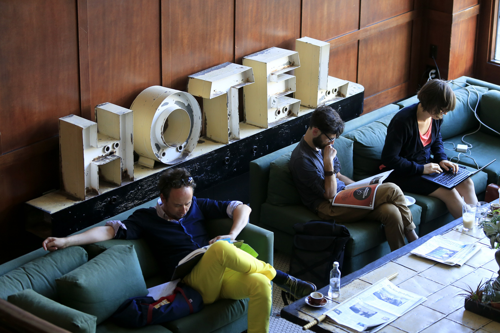 The lobby of the Ace Hotel in downtown Portland, Ore., is shown in July.