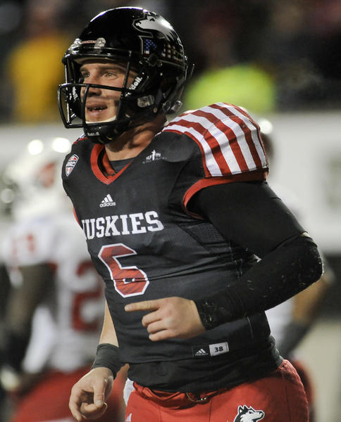 Northern Illinois Cardinals quarterback Jordan Lynch smiles after he scored a touchdown in the fourth quarter against Ball State.