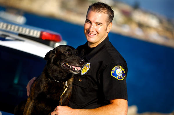 Officer Shawn Preasmyer and Ringo worked as a team in the Newport Beach Police Department's canine unit since 2007. Preasmyer and the department said goodbye to Ringo last week who had retired in 2009 because of back problems.