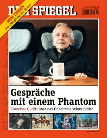 The front page of the German newspaper Der Spiegel showing a photograph of art dealer Cornelius Gurlitt, who was recently revealed to be hoarding more than 1,400 works of art in his Munich apartment.
