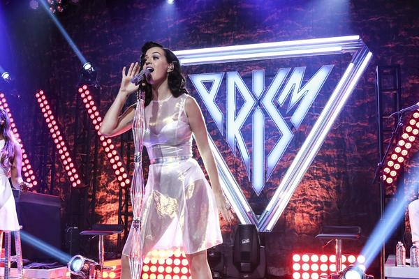 Katy Perry performs at the iHeartRadio Theater in Los Angeles.