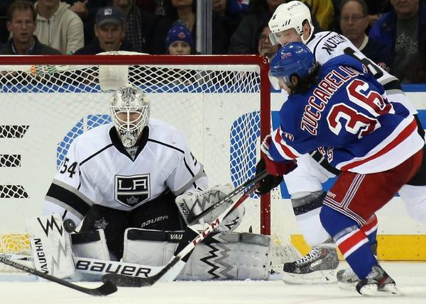 Kings goalie Ben Scrivens faces the New York Rangers' Mats Zuccarello.