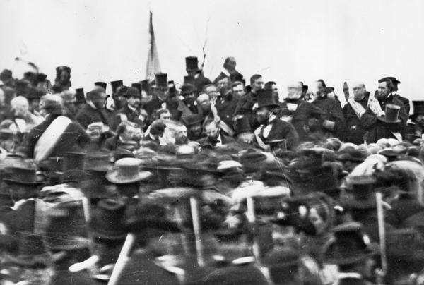 President Abraham Lincoln, bareheaded and bearded in the center, in a stereopticon image taken at the Nov. 19, 1863, dedication of a national cemetery on the site of the battle of Gettysburg in July.