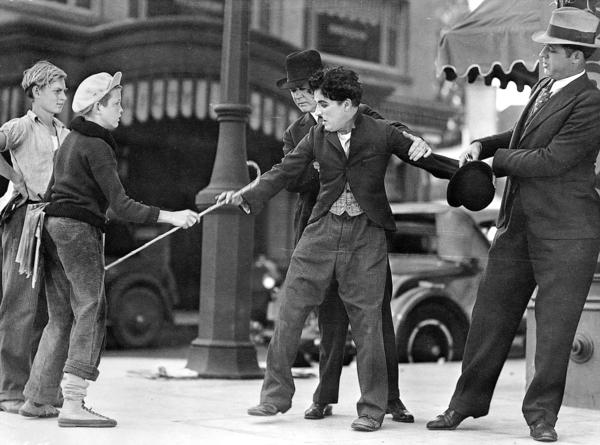 "A scene from Charlie Chaplin's classic film ""City Lights,"" now available on Blu-ray and DVD."