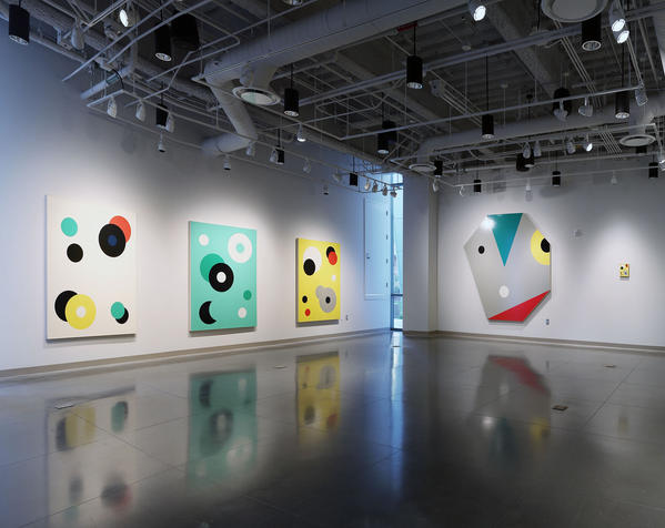 """The installation of Bob Zoell's """"Spots"""" at the Boone Family Art Gallery at Pasadena City College."""