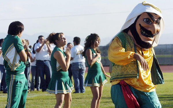 A file photo shows Coachella Valley High School's mascot during a pep rally at the school.