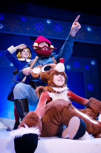 Liam Dahlborn as Hermey the Elf, Michael Accardo as Yukon Cornelius, and Armando Carlo IV as Rudolph the Red-Nosed Reindeer in the  musical 'Rudolph the Red-Nosed Reindeer.""