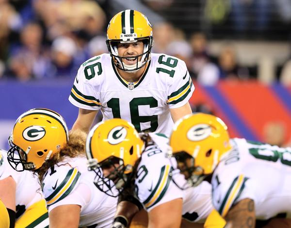 Scott Tolzien of the Green Bay Packers calls out the play in the fourth quarter against the New York Giants at MetLife Stadium.