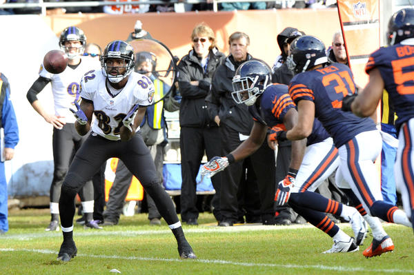 Ravens wide receiver Torrey Smith makes a catch against the Chicago Bears on Sunday.