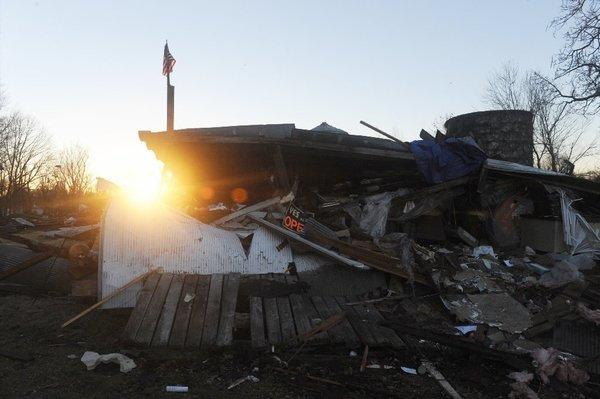 Monday morning in tornado-ravaged Brookport, Ill.