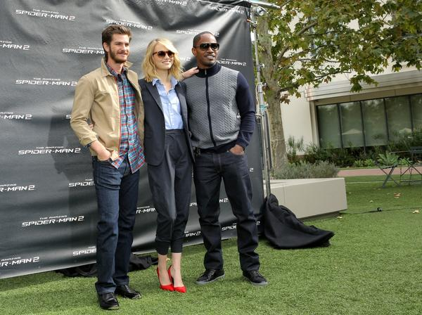 "Andrew Garfield, Emma Stone and Jamie Foxx attend an event for ""The Amazing Spider-Man 2"" at Sony Pictures Studios in Culver City."