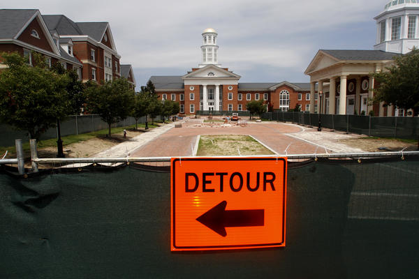 Construction to the entrance to Christopher Newport University on Avenue of the Arts nears completion.