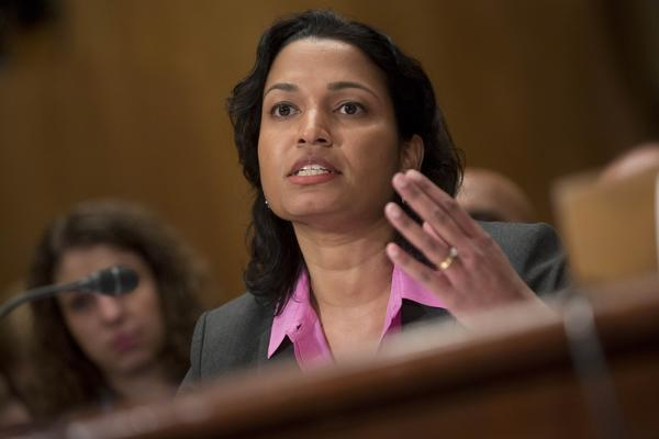Mythili Raman, acting assistant attorney general of the Justice Department's criminal division, speaks during a Senate Homeland Security and Governmental Affairs Committee hearing about Bitcoin and other virtual currencies.