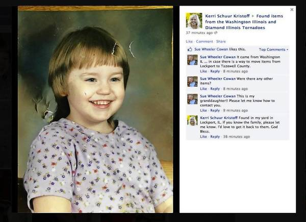 Kerri Schuur Kristoff posted this photo, and the girl's grandmother found it on the Facebook page.