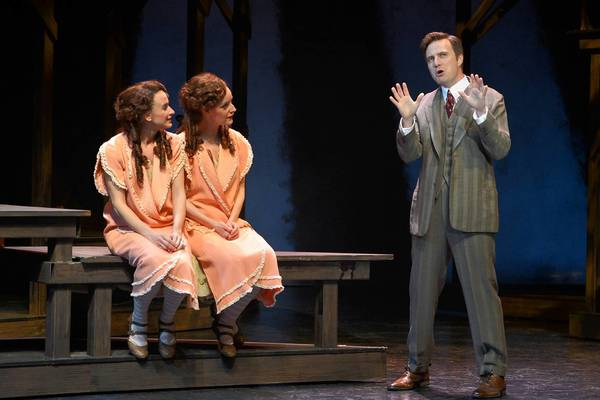 "Emily Padgett, left, Erin Davie and Manoel Felciano in a scene from ""Side Show."""