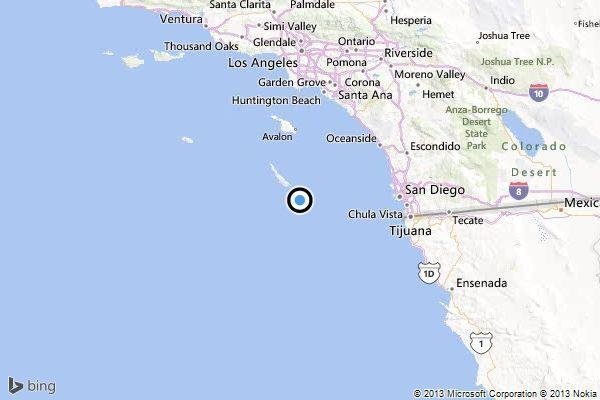 A map shows the approximate location of the epicenter of Monday evening's quake near Avalon.