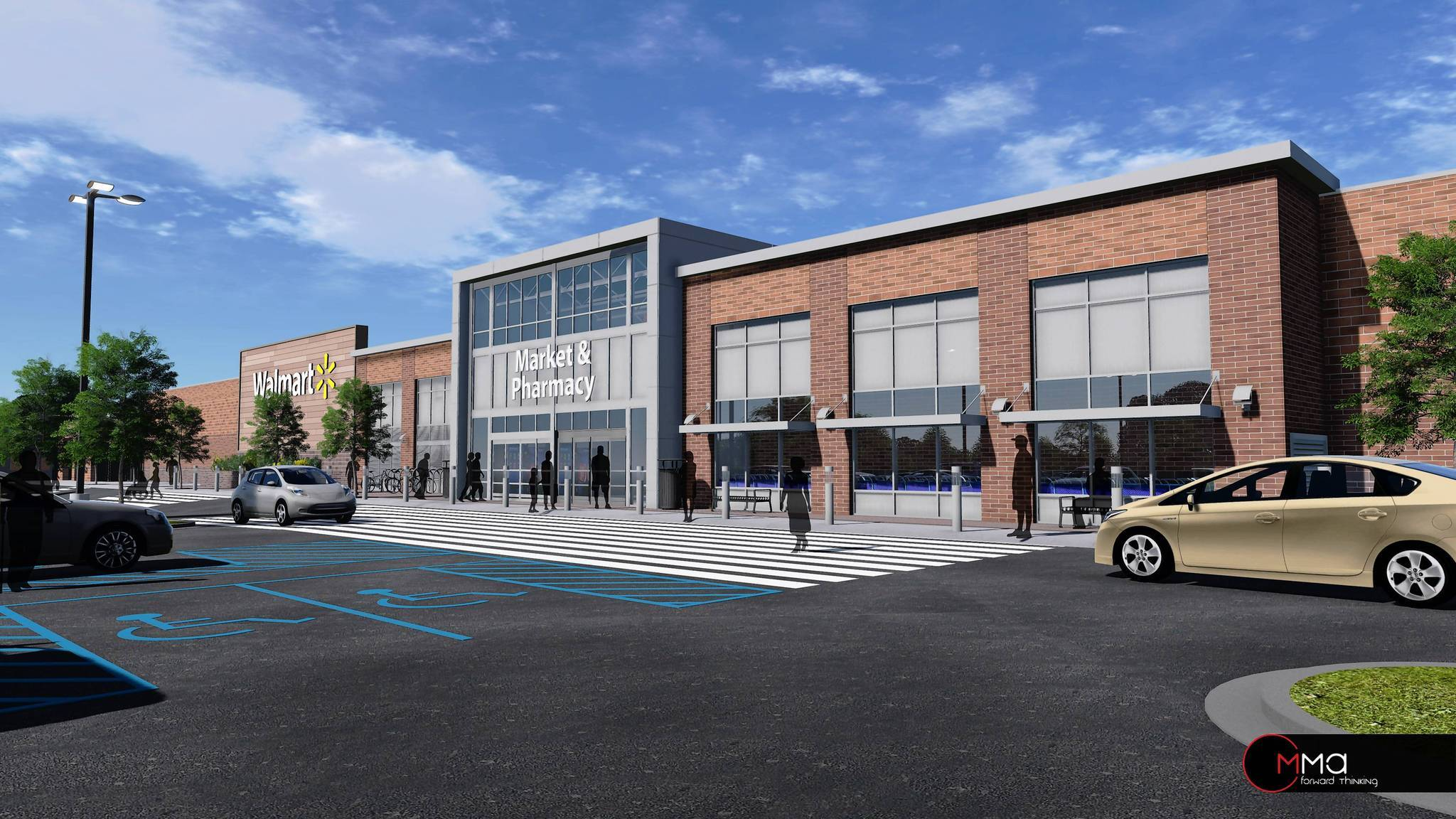 An artist rendering shows what the Walmart store in the planned 25th Street Station hsopping center in Remington would look like.