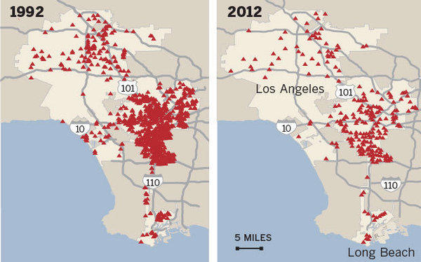 Homicides in the city peaked at 1,092 in 1992, but by 2012 they had dropped to 299. Since 2007, The Times' Homicide Report has tried to tell every victim's story. To date, the online database contains information about more than 5,100 killings in Los Angeles County.