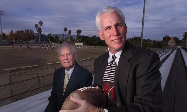 Quarterback Dana Potter, right, and coach Jack Neumeier were part of Granada Hills' 1970 City Championship team.