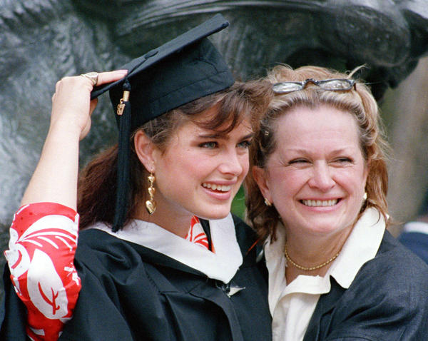 Brooke Shields with her mother, Teri, after Brooke's graduation from Princeton in 1987.
