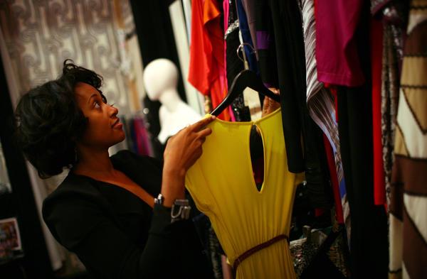 The Frock Shop owner Jennifer Burrell in her Pilsen showroom