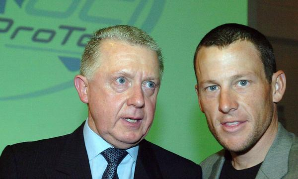 Former International Cycling Union president Hein Verbruggen, left, denies accusations made by Lance Armstrong, shown together in 2005, that he took part in a doping coverup during the 1999 Tour de France.