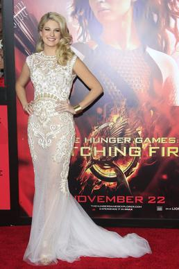 Stephanie Leigh Schlund arrives for the premiere of 'The Hunger Games: Catching Fire'.
