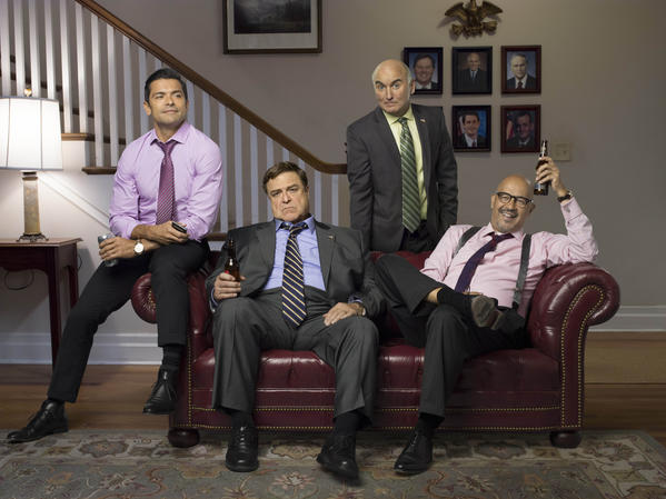"""Alpha House"" stars, from left, Mark Consuelos, John Goodman, Matt Malloy and Clark Johnson."