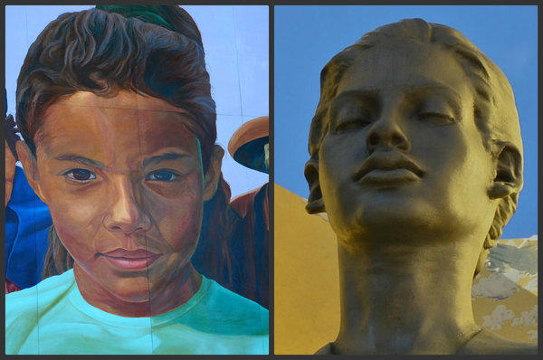 """In Union Station Los Angeles, the star of Richard Wyatt's mural """"City of Dreams/River of History"""" is the girl on the left. The girl or woman on the right, sculpted by Robert Graham, hovers over the entrance to the nearby Cathedral of Our Lady of the Angels."""
