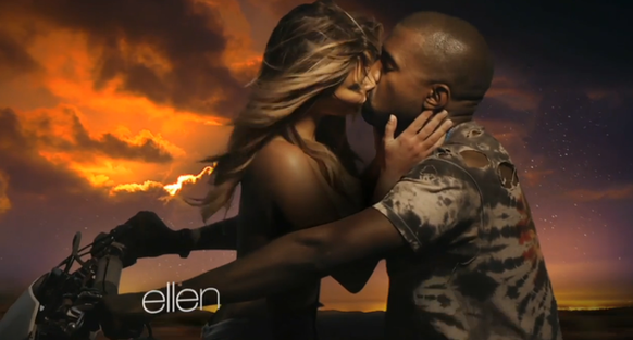 "Kanye West featured fiancee Kim Kardashian in the music video for his song ""Bound 2,"" which he debuted on ""The Ellen DeGeneres Show"" on Tuesday."