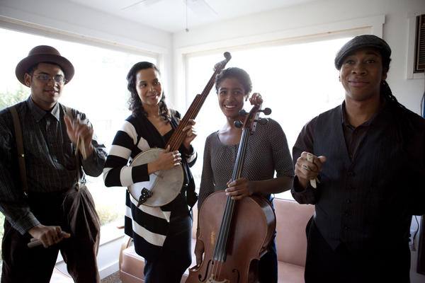 "The Carolina Chocolate Drops -- Dom Flemons, left, Rhiannon Giddens, Leyla McCalla, Hubby Jenkins. The group is included on the new two-CD album ""Divided & United: The Songs of the Civil War."""