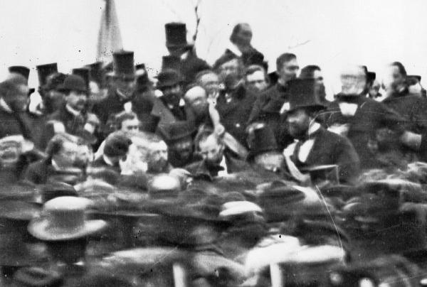 President Lincoln (center, hatless) speaks at the dedication of the Gettysburg National Cemetery, Nov. 19, 1863.